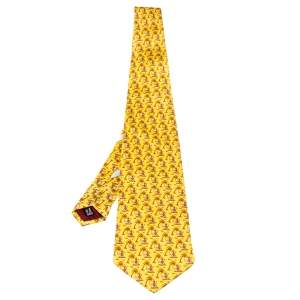 Salvatore Ferragamo Yellow Animal Print Traditional Silk Tie