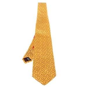 ربطة عنق سالفاتوري فيراغامو حرير طباعة دعسوقة صفراء