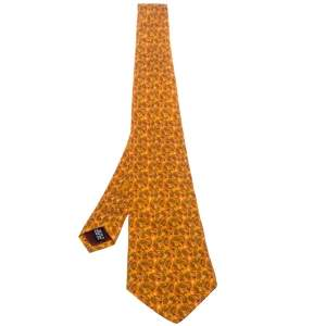 Salvatore Ferragamo Orange Bird printed Silk Tie