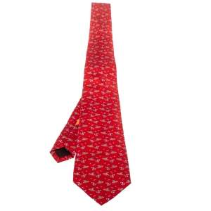 Salvatore Ferragamo Red Watersport Printed Silk Tie