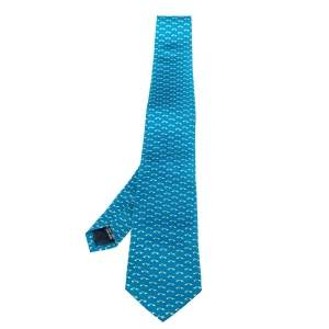 Salvatore Ferragamo Blue Car Print Silk Tie