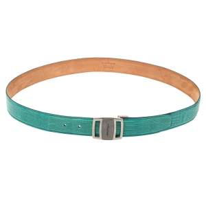 Salvatore Ferragamo Mint Green Lizard Buckle Belt 105CM