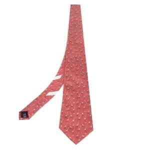 Salvatore Ferragamo Salmon Pink Giraffe Print Silk Tie