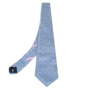 ربطة عنق سالفاتوري فيراغامو حرير مطبوع دعسوقة أزرق باهت