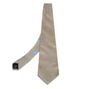ربطة عنق سالفاتوري فيراغامو حرير مطبوع مرساه أصفر