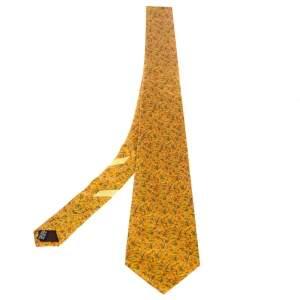 Salvatore Ferragamo Chrome Yellow Floral Print Silk Tie