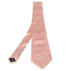 ربطة عنق سالفاتوري فيراغامو حرير طباعة حيوان وردي