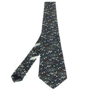 Salvatore Ferragamo Navy Blue Well Print Silk Tie
