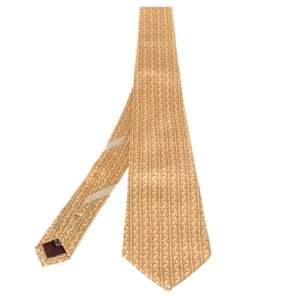 Salvatore Ferragamo Yellow Golfer Print Silk Tie