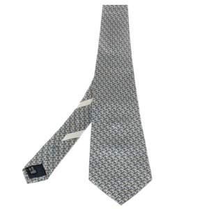 Salvatore Ferragamo Blue Toucan Print Silk Traditional Tie