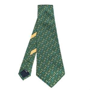 ربطة عنق سالفاتوري فيراغامو حرير مطبوع نظارة أخضر