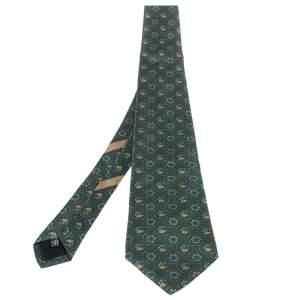 ربطة عنق سالفاتوري فيراغامو حرير مطبوعة زهور فيل أخضر