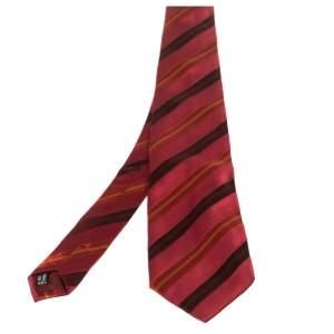Salvatore Ferragamo Dark Red Diagonal Striped Silk Tie