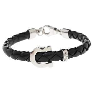 Salvatore Ferragamo Black Braided Leather Gancio Bracelet