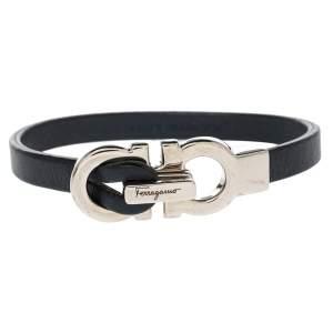 Salvatore Ferragamo Blue Leather Gancini Clasp Bracelet