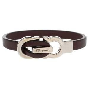 Salvatore Ferragamo Purple Leather Gancini Clasp Bracelet
