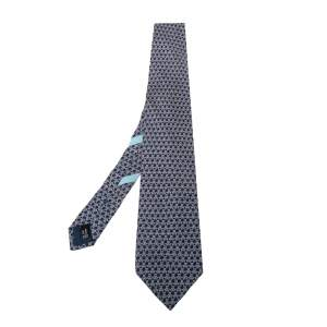 Salvatore Ferragamo Blue Printed Silk Traditional Tie