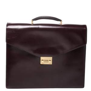Salvatore Ferragamo Burgundy Leather Briefcase