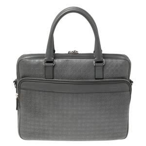 Salvatore Ferragamo Grey Gancini Embossed Leather Laptop Bag