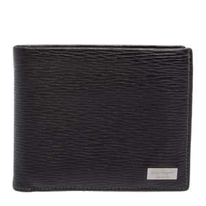 Salvatore Ferragamo Black Textured Leather Bifold Wallet