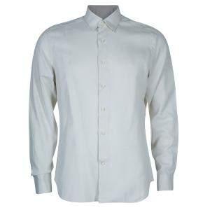 Salvatore Ferragamo Men's Beige Striped Shirt L