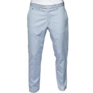 Salvatore Ferragamo Blue Striped Cotton Straight Leg Pants L