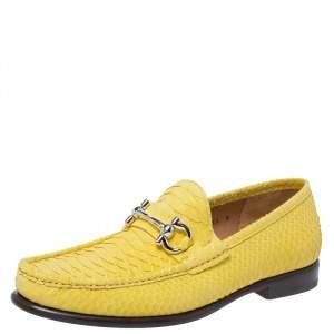 Salvatore Ferragamo Yellow Python Mason Loafers Size 42