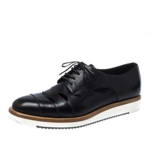 Salvatore Ferragamo Black Cut Out Leather Famoso Lace Up Oxfords Size 41