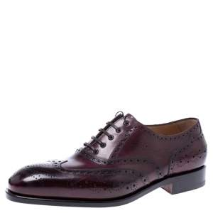 Salvatore Ferragamo Wine Brogue Leather Trieste Oxfords Size 41