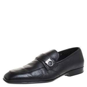 Salvatore Ferragamo Black Leather Gancini Loafers Size 43.5