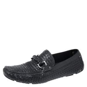 Salvatore Ferragamo Black Woven Leather Parigi Gancini Loafers Size 42.5