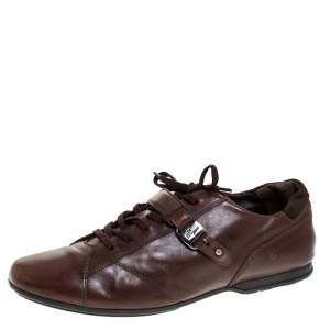 Salvatore Ferragamo Brown Leather Low Top Sneakers Size 45.5