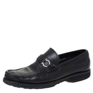 Salvatore Ferragamo Black Leather Horsebit Slip On Loafers Size 43
