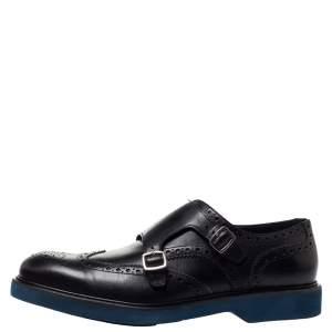 Salvatore Ferragamo Black Brogue Leather Monk Derby Size 42