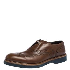 Salvatore Ferragamo Brown Brogue Leather Oxford Size 42
