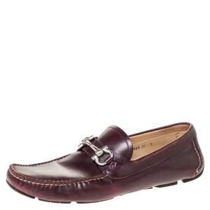 Salvatore Ferragamo Burgundy Leather Horsebit Slip On Loafers Size 43