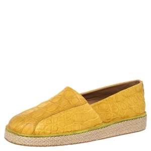 حذاء إسبادريل سالفاتوري فيراغامو لامبدوسا جلد تمساح أصفر مقاس 41