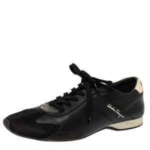 Salvatore Ferragamo Black Leather And Suede Low Top Sneakers Size 42.5
