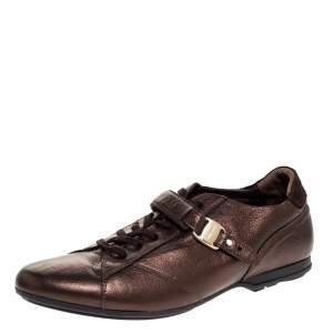 Salvatore Ferragamo Metallic Bronze Leather Low Top Sneakers Size 44