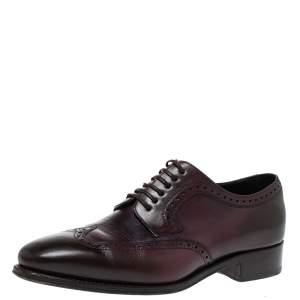 Salvatore Ferragamo Brown/Purple Leather Wingtip Derby Size 42.5