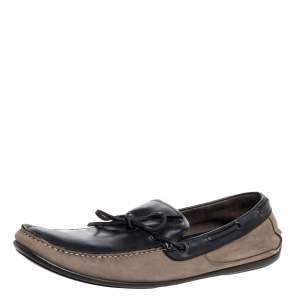 Salvatore Ferragamo Brown/Grey Nubuck Leather Bow Slip On Loafers Size 46