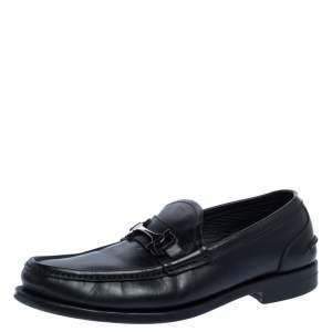 حذاء لوفرز سالفاتوري فيراغامو غانسيني جلد أسود مقاس 42