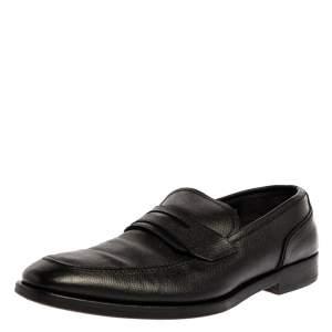 حذاء بيني لوفرز سالفاتوري فيراغامو جلد أسود منقوش مقاس 44.5