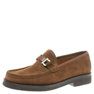 Salvatore Ferragamo Brown Suede Horsebit Loafers Size 43.5