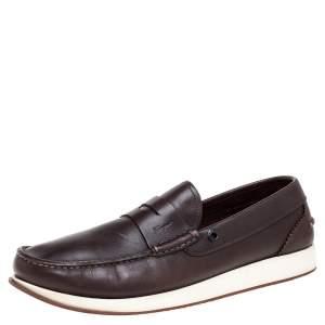 Salvatore Ferragamo Dark Brown Leather Penny Slip On Loafers Size 43