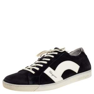 Salvatore Ferragamo Black/White Leather and Suede Low Top Sneakers Size 45