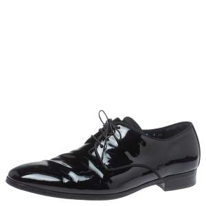 Salvatore Ferragamo Black Patent Leather Dimo Lace Oxford Size 43