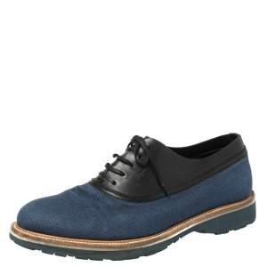 Salvatore Ferragamo Blue/Black Fabric and Leather Lace Up Oxfords Size 41