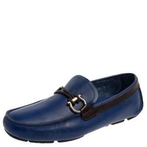 حذاء لوفرز سالفاتورى فيراغامو سليب أون غانسينى بيت جلد أزرق مقاس 42