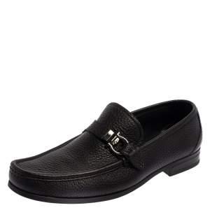 Salvatore Ferragamo Black Leather Gancini Loafers Size 43